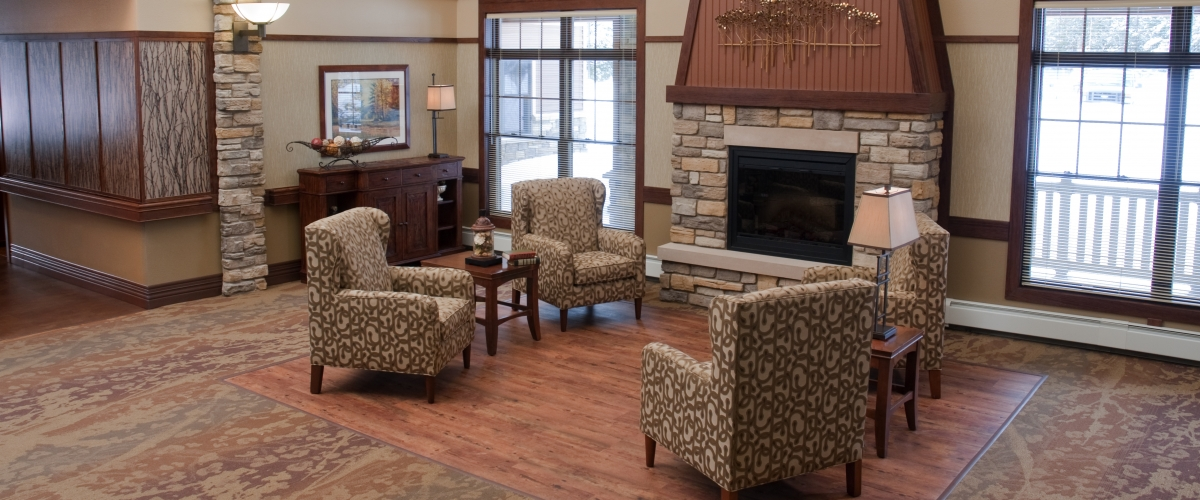 Rhinelander Rennes Health & Rehab Center Fireplace Sitting Area