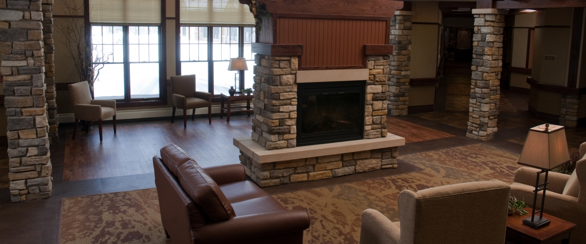 Rhinelander Rennes Health & Rehab Center Fireplace Lounge