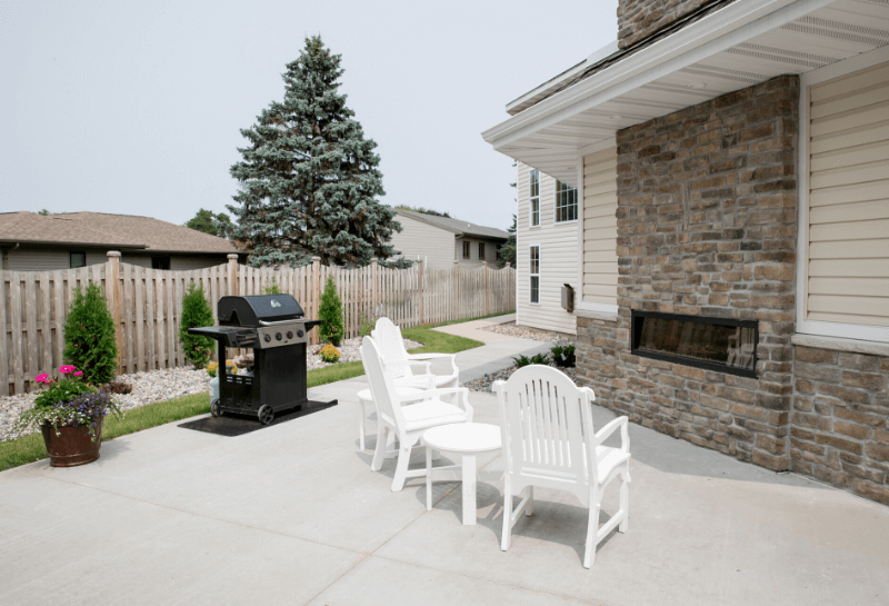 Marinette Renaissance Assisted Living Courtyard Fireplace